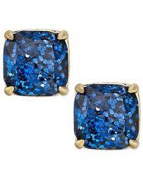 glitter stud earrings kate spade new york gold tone blue glitter stud earrings