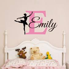 Personalized Nursery Wall Decals T07016 Ballerina Wall Decal Custom Baby Name Wall Sticker