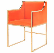 Orange Dining Room Chairs Anastasia Hollywood Regency Orange Velvet Brass Frame Dining Chair