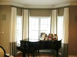 bay window with silk curtains featured rods good bay window