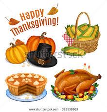 set icons thanksgiving dinner roast stock vector 328538903