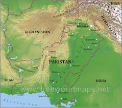World Physical Map by Pakistan Physical Map