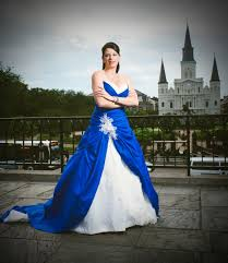 blue wedding dress with white and lace custom made in by availco