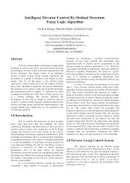 intelligent elevator control by ordinal structure fuzzy logic