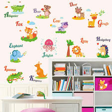 home decoration diy wall sticke english words animals noctilucent