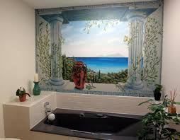 mediterranean murals greek scene wallpaper arch wallpaper window mural greece