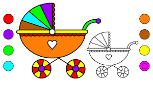 draw baby carriage coloring pages kids u2013 learn colors