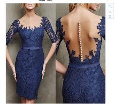 dress pesta 2015 gaun pesta malam elegan sabuk selubung renda pendek biru navy