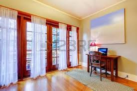 home office new house large room with simple furniture stock