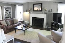 Gray And Beige Living Room by Brown Furniture Grey Walls Home Design