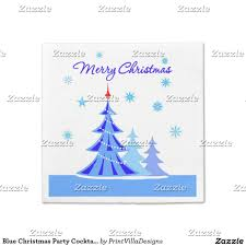 Party Cocktail Napkins - blue christmas party cocktail napkin custom christmas paper