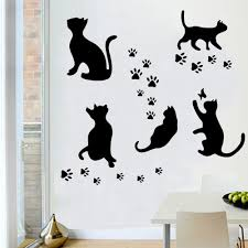 wholesale novelty black cat wall stickers decorative decals wholesale novelty black cat wall stickers decorative decals creative home decoration on bedroom kids gift waterproof decor 10pc in wall stickers from home