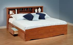 King Headboard With Storage Minimalist Bedroom With Cherry Wood Storage Headboard King King