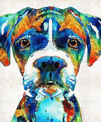 100 boxer dog giclee colorful boxer dog by sharon cummings sharon cummings oil