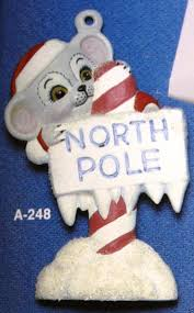ceramic bisque christmas ornament north pole mouse alberta mold