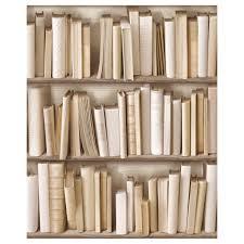 vintage ivory library bookshelf wallpaper wall decor pinterest