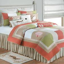 Beach Theme Quilt Bedding Collection Sea Life King Quilt Seashells Coastal Coral