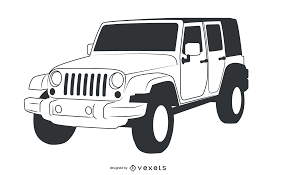 jeep png black u0026 white hand traced jeep wrangler vector download