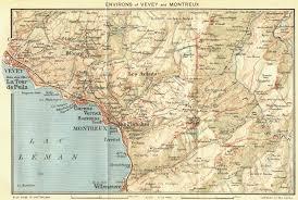 map of montreux switzerland area of vevey montreux 1923 vintage map
