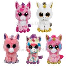 ty plush animals beanie boos pink multicolor white gold unicorn