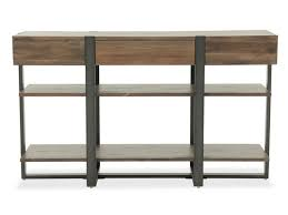 two open shelf industrial sofa table in rustic honey mathis