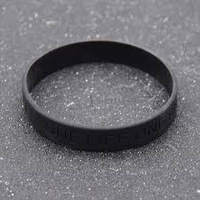 silicone bracelet black images Fashion lychee black silicone bracelet bangle one life one chance jpg