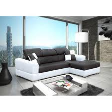 canape angle noir et blanc canapé d angle 4 places néto noir et blanc pas cher moderne et