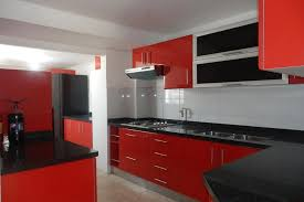 impressive red and grey cabinet modern red wall kitchen on the