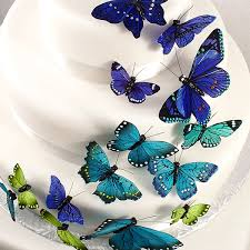 24 pc realistic painted butterfly decorations set