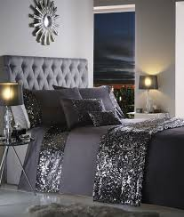 Diamante Bedroom Set Luxury Sequin Duvet Quilt Cover Bedding Set Dazzle Double Charcoal