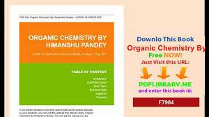 organic chemistry by himanshu pandey video dailymotion