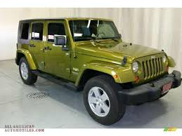 jeep sahara green 2007 jeep wrangler unlimited sahara 4x4 in rescue green metallic