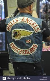 a member of the hells angels motorcycle club at the 10th stock
