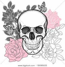 human skull skull flower vector photo bigstock