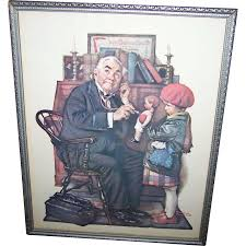 vintage framed norman rockwell print the doctor and the doll