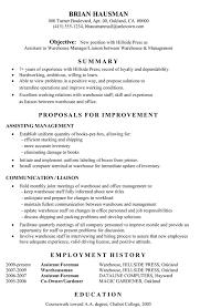 resume objective exles warehouse supervisor 100 images resume