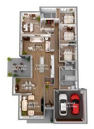 3 Bedroom Cabin Plans 3 Bedroom Apartmenthouse Plans 1000 Sq Ft House 3d Large Momchuri