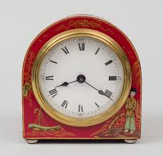 english red chinoiserie desk clock