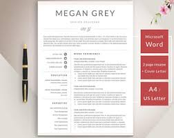 Templates Resume Word Resume Template Etsy