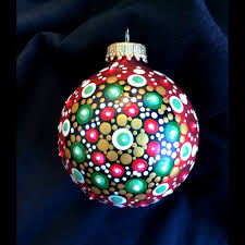 handpainted dot mandala glass ornaments by robin