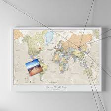 World Map Poster With Pins by Personalised Classic World Map By Maps International