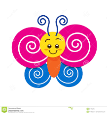 smile colorful butterfly on the white background stock