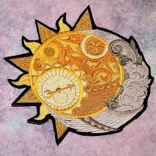 celestial sun crescent moon iron on embroidery patch mtcoffinz