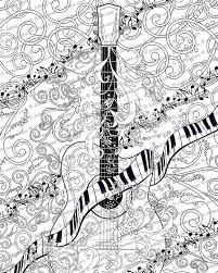 coloring page printable guitar coloring poster