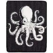 Seeking Octopus Octopus Fleece Blanket In Linen