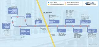 Bahadurgarh Metro Map by Rapid Metro Route Phase 2 Map Rapid Metro Map