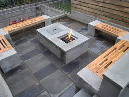 patio ideas wood decking tiles rectangle fire pit table with