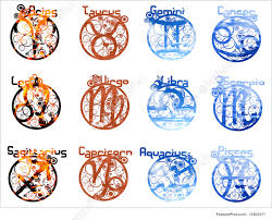 illustration of four elements zodiac signs