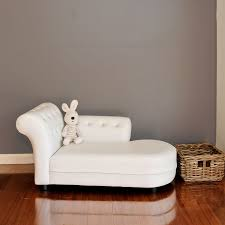 Kids Chaise Lounge Small Kid U0027s Pu Leather Stud Chaise Lounge In White Buy Kids Sofas
