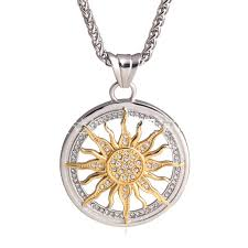 fashion gold silver plated iced out sun flower pendant